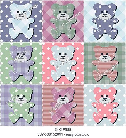 Patchwork quilt teddy bear Stock Photos and Images   age fotostock