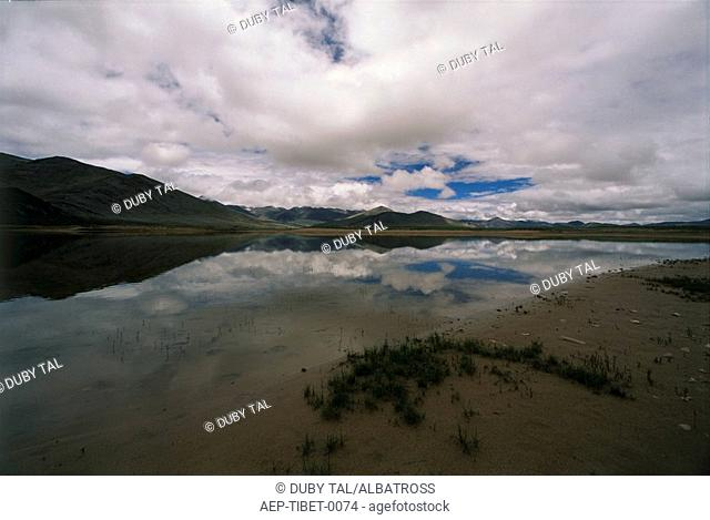 Abstract view of a pond in Tibet