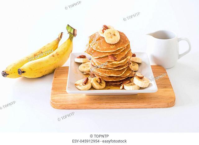 almond banana pancake with honey