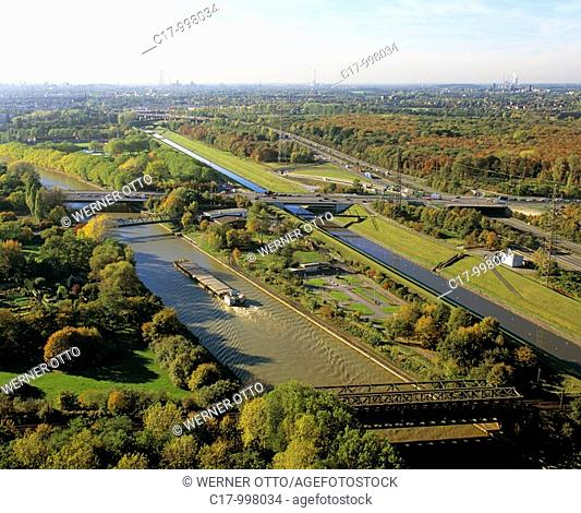 Germany, Oberhausen, Ruhr area, Lower Rhine, North Rhine-Westphalia, panoramic view towards Duisburg showing Rhine Herne Canal, Emscher and motorway A42