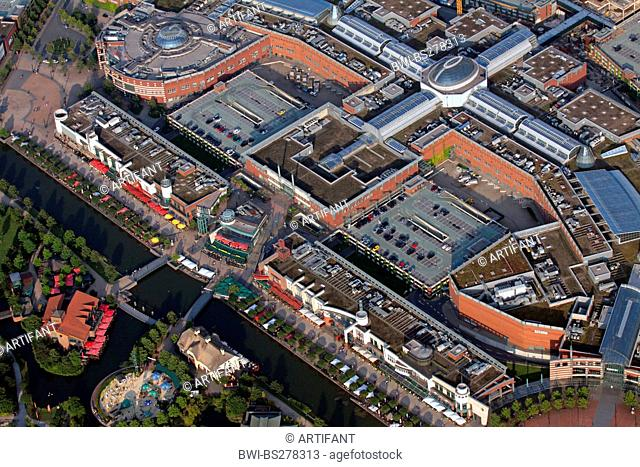 CentrO Oberhausen with food concourse, canal and Japanese Garden, Germany, North Rhine-Westphalia, Ruhr Area, Oberhausen