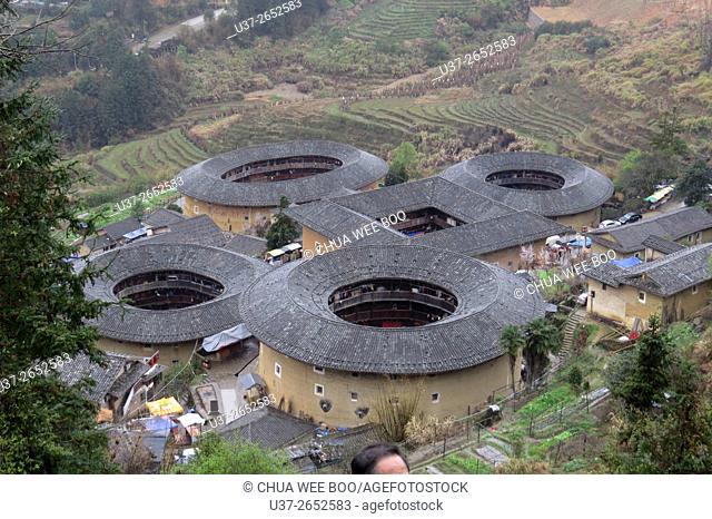 Asia, China, Fujian, Nanjing County, Shuyang Town, Hsiaban Village, Hsiaban Tulou Cluster