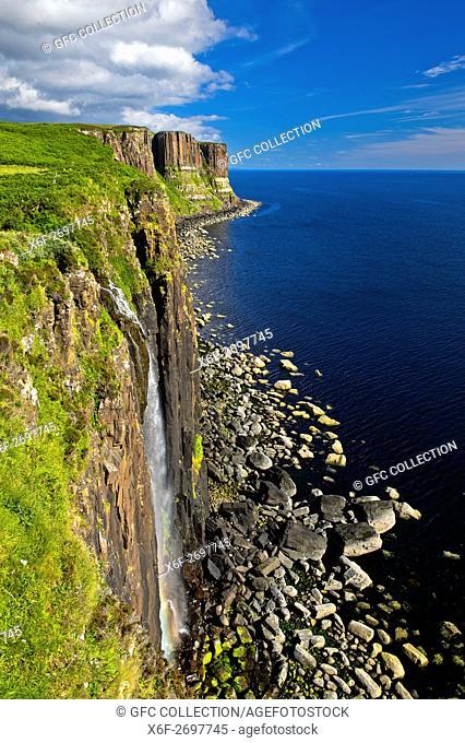 Mealt Waterfall and Kilt Rock basalt cliffs near Staffin, Isle of Skye, Scotland, Great Britain