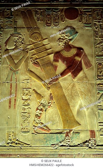 Egypt, Upper Egypt, Nile Valley, Nubia, Abydos Temple, pharaoh Seti I and Isis Goddess raising the Djed Pillar