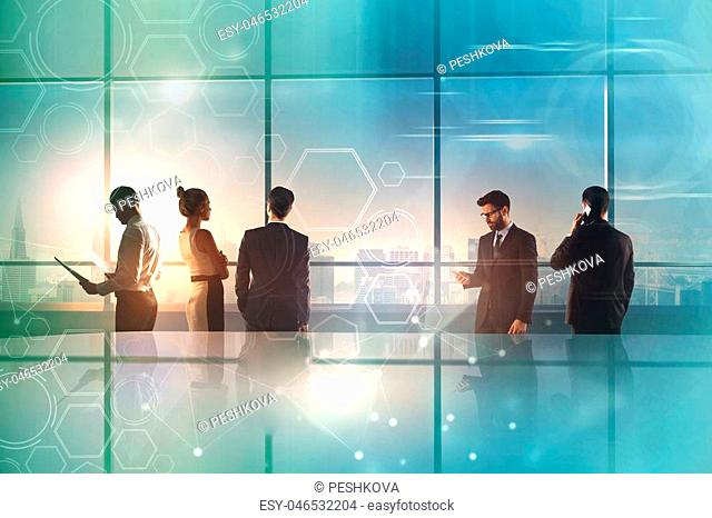 double exposure with business colleagues and abstract technology world map illustration