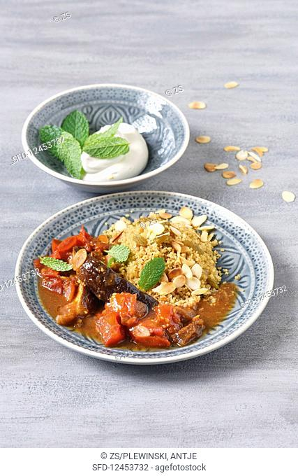 Eggplant and tomato tagine with couscous
