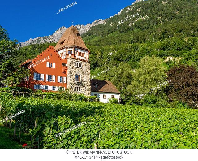 Red house, Vaduz, Principality of Liechtenstein, Europe