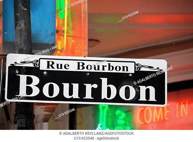 Bourbon Street Sign, French Quarter, New Orleans, Louisiana, U.S.A., North America