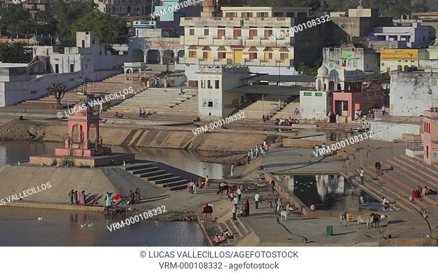 Pilgrims,Ghats, holy lake,pushkar, Rajasthan, india