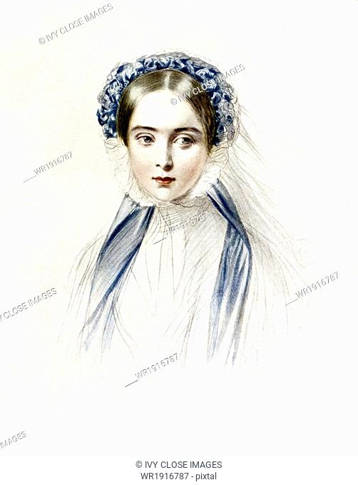 Queen Victoria (1819-1901) ascended the throne of England in 1831 and ruled until her death in 1901. This hand-colored lithograph portrait of the queen as a...