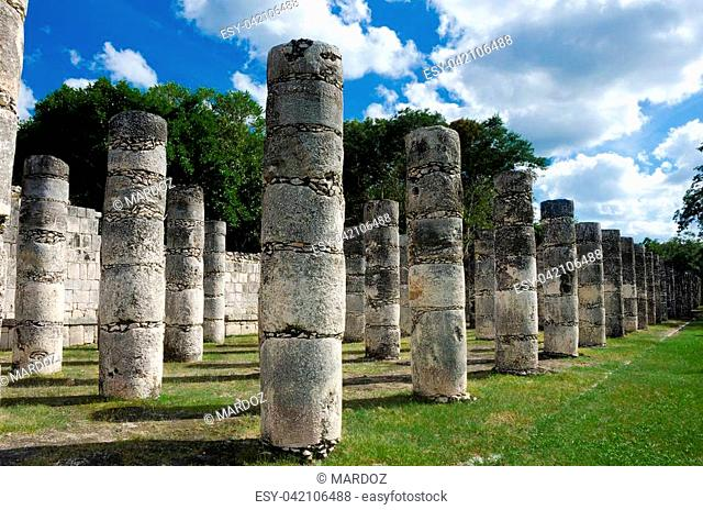 Series of misterious ancient columns in a mayan archaeological site
