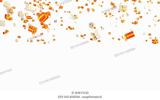 Rain of Several White Gold and Red Gold Gifts with a white background