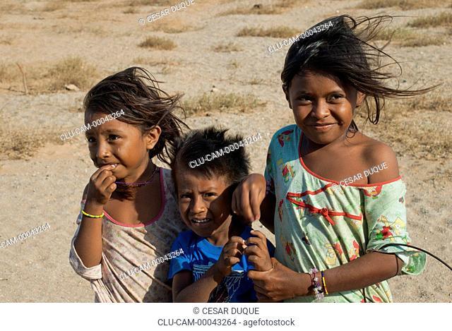 Children Wayuu, Cabo de la Vela, Guajira Peninsula, La Guajira, Riohacha, Colombia