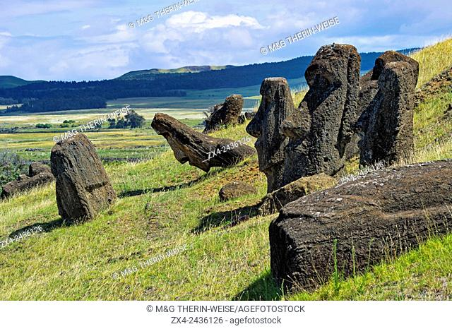 Moais in Rano Raraku, Rapa Nui National Park, Easter Island, Chile, Unesco World Heritage