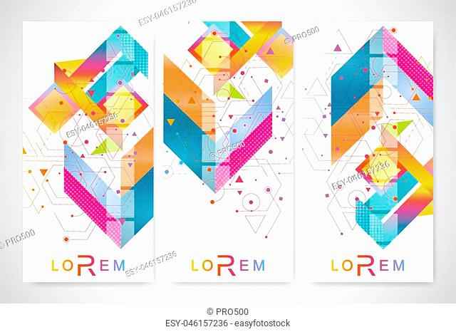 Modern set of vector flyers, banners. Geometric abstract presentation. Molecule and communication background for medicine, science, technology, chemistry