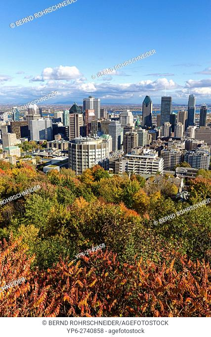 view on Montreal from Mont Royal with autumnal trees, Montreal, province Quebec, Canada