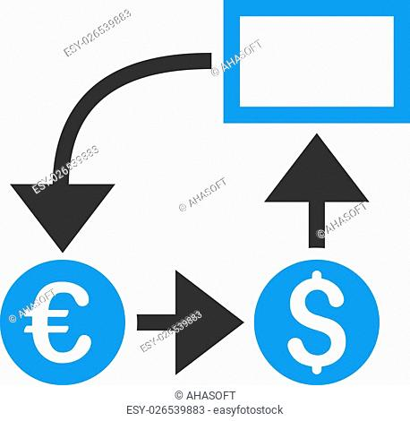 Cashflow icon. Vector style is bicolor flat iconic symbol, blue and gray colors, white background