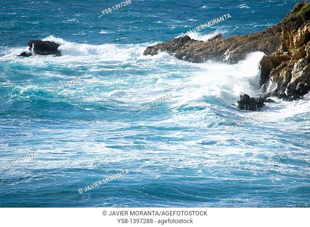 Spain, Balearic Islands, Mallorca, Mediterranean, Impact of waves on the coast