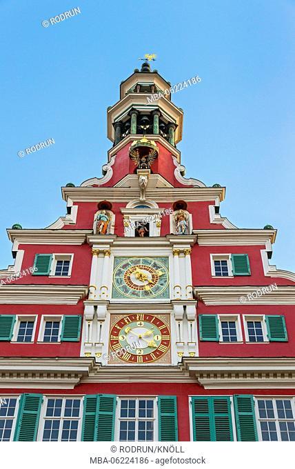 Germany, Baden-Württemberg, Esslingen, Altes townhall, north side of Heinrich Schickhardt 1589 clock tower in the Renaissance style, astronomical clock of 1592