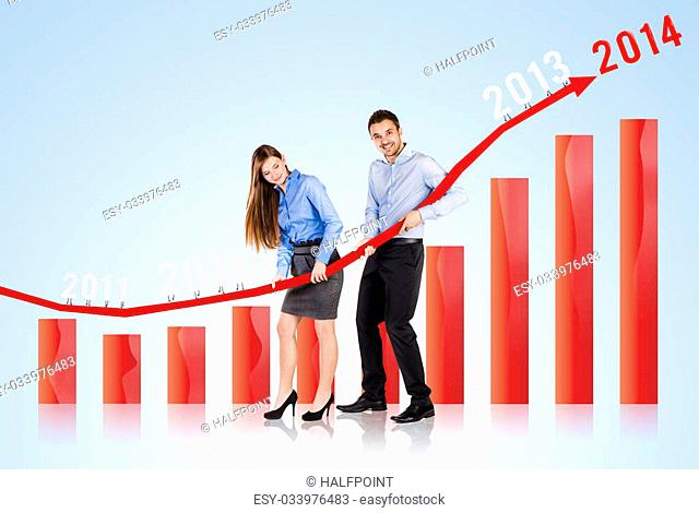 Business woman and man are trying to increase market statistics