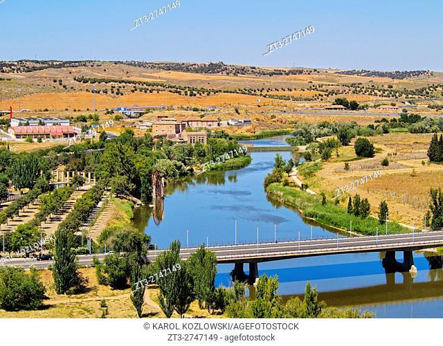 Spain, Castile La Mancha, Toledo, View of the Tagus River.