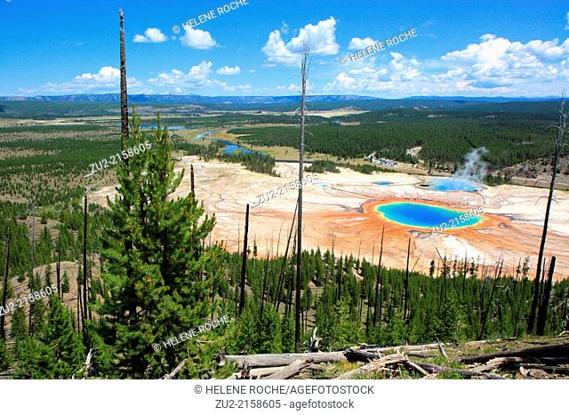 Aerial view of Grand prismatic spring, Yellowstone National Park, Wyoming, USA