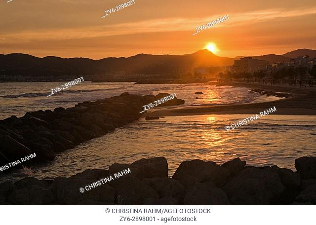 PALMA DE MALLORCA, BALEARIC ISLANDS, SPAIN Sunny evening active people at Molinar beach on a summer evening in Palma de Mallorca, Balearic islands, Spain