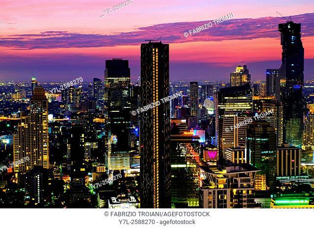 Sunset over the skyline of Bangkok, Thailand