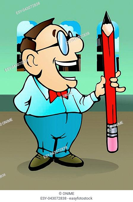 illustration of a man hold a giant pencil, keeping it in his hand on office background