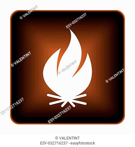 Fire icon. Internet button on white background