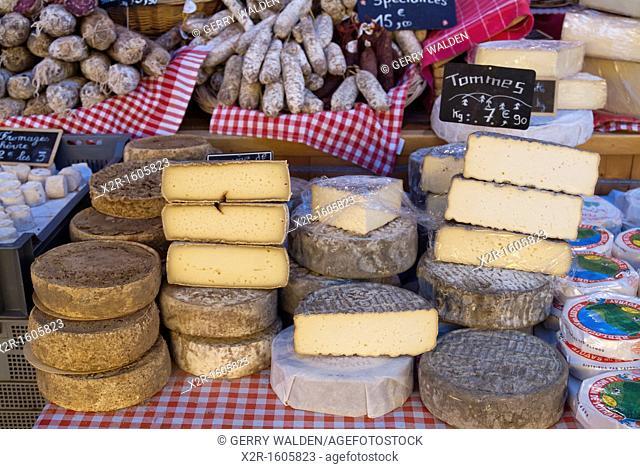 France - Savoie - Aix les bains - market - local cheeses for sale
