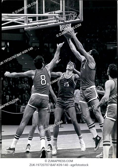 Jul. 07, 1972 - The new Olympic Basketball hall in Munich was inaugurated by several basketball matches. The teams were from USSR, CSSR, Italy and West Germany