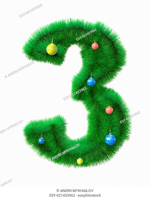 3 number made of christmas tree branches
