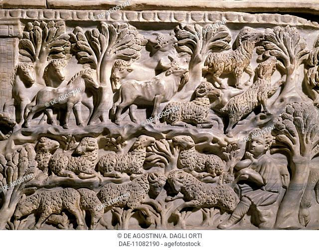 Pastoral scene, detail from relief decorations on the front of the sarcophagus of Iulius Achilleus, height 106 cm. Roman civilisation, 3rd century