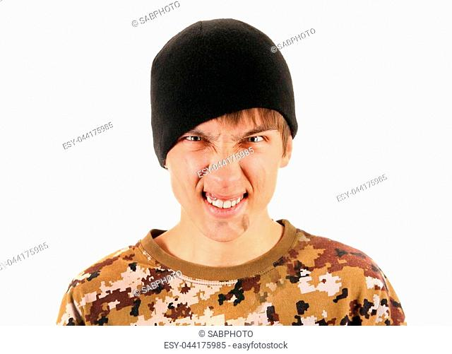 Angry Young Man with Dirty Face on the White Background
