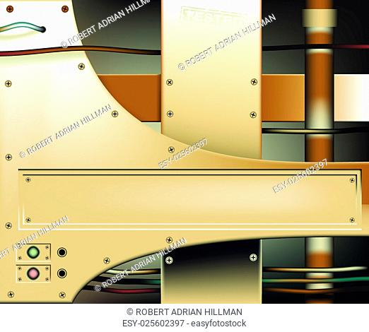 Editable vector background of bronze metal plates with copy space, made using gradient meshes