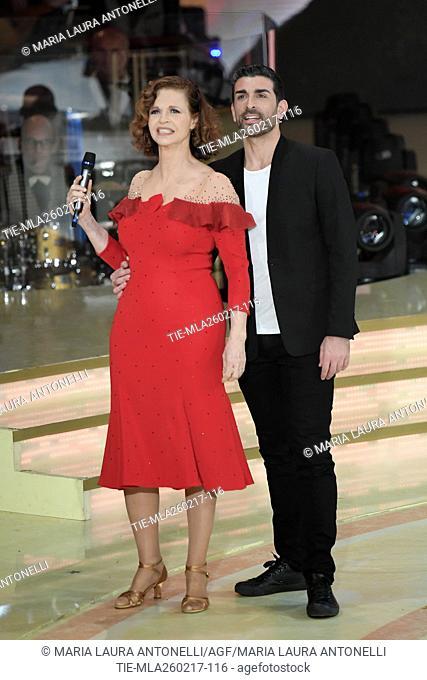 Anna Galiena with Simone Di Pasquale during the tv show Ballando con le stelle, Rome, ITALY-25-02-2017