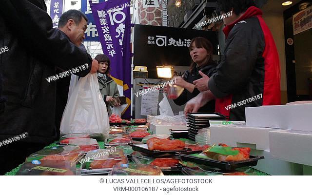 Tsukiji market, biggest fishmarket in the world.Tokyo city, Japan, Asia