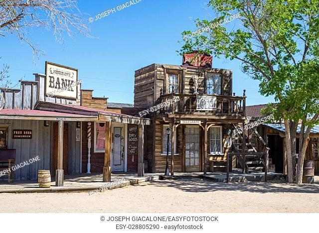 Pioneer Town buildings. Yucca Valley, California, USA