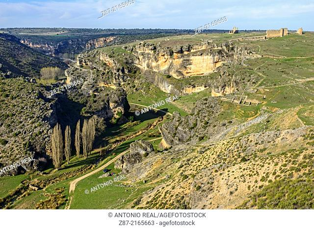 Gorge of river Gritos and archaeological park of Valeria, Cuenca province, Castilla-La Mancha, Spain