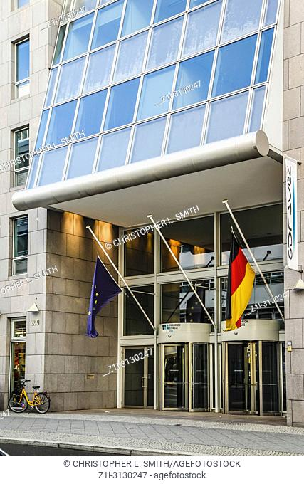 Flags outside the Offices of the DDB business group at 200 Freidrichstrasse in Berlin, Germany