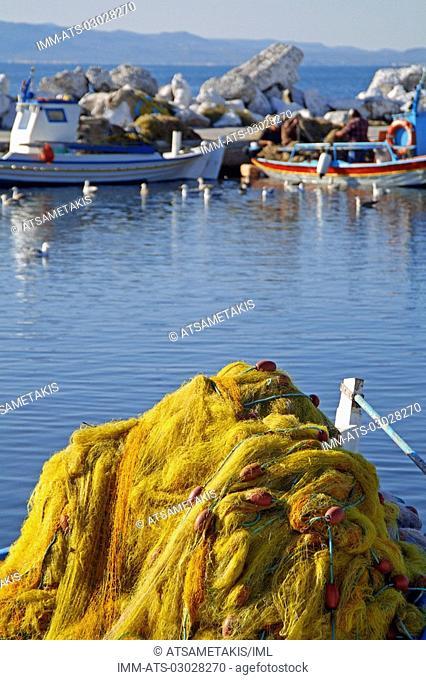 Skala Kallonis, nets, fishing boats, Lesvos, N  E  Aegean, Greece