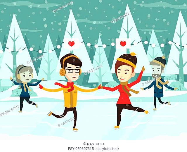 Two happy caucasian white couples ice skating outdoors on a pond on a snowy winter day. Young romantic man and woman holding hands and skating on ice rink...
