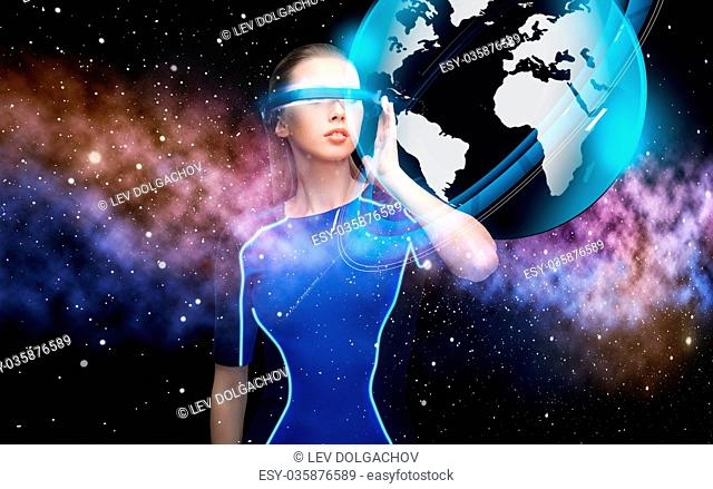 woman in virtual reality 3d glasses with earth