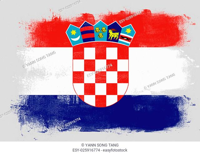 Flag of Croatia painted with brush on solid background