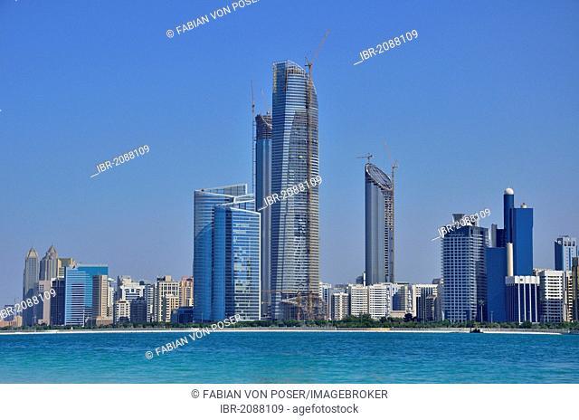 View of the Abu Dhabi skyline from Heritage Village, Abu Dhabi, United Arab Emirates, Arabian Peninsula, Asia