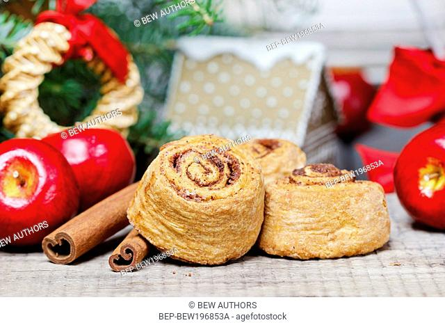 Cinnamon rolls in christmas setting. Festive dessert