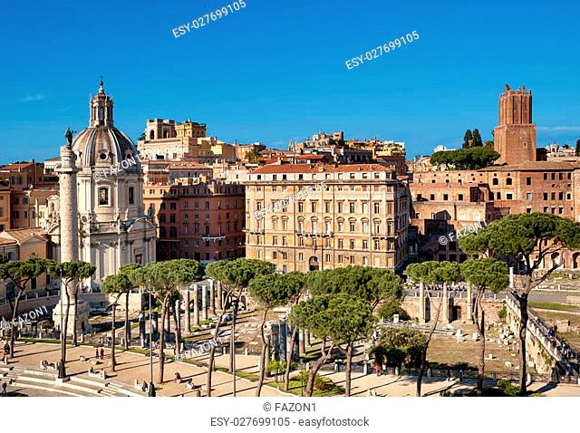 Church of the Most Holy Name of Mary and the Column of Trajan, Rome - Italy