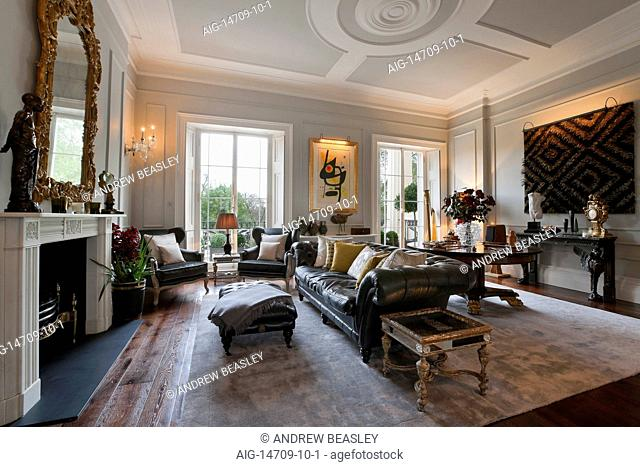 Grade I listed - Sir John Nash regency family home overlooking Regents Park in London. First floor Drawing room with painted plaster ceilings and wood panelled...