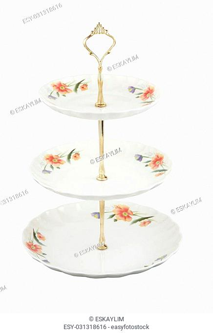 3 tier of plate with clipping path